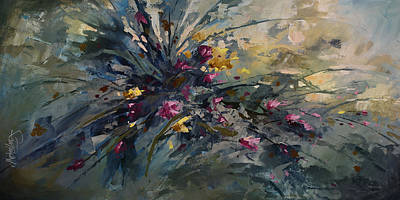 Pallet Knife Painting - 'wild Flowers' by Michael Lang