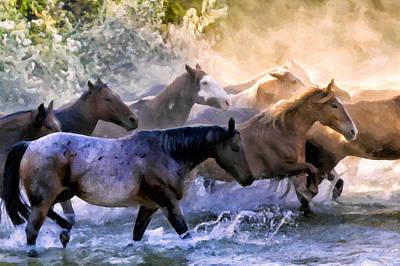 Wyoming Painting - Wild Herd by Janet Fikar
