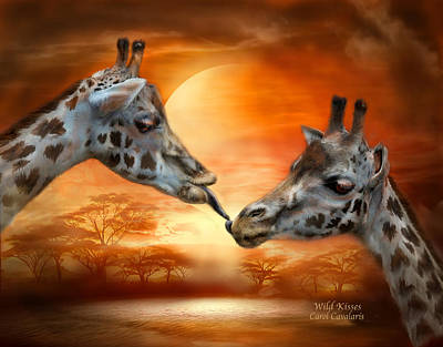 Giraffe Mixed Media - Wild Kisses by Carol Cavalaris