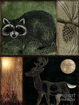 Moonlight Painting - Wild Racoon And Deer Patchwork by Mindy Sommers