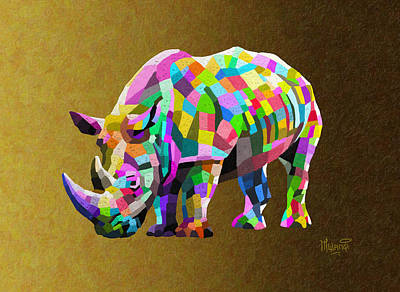 One Horned Rhino Painting - Wild Rainbow by Anthony Mwangi