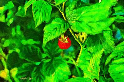 Flora Painting - Wild Raspberry - Pa by Leonardo Digenio