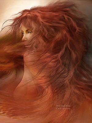 Beautiful Woman Mixed Media - Wild Red Wind by Carol Cavalaris