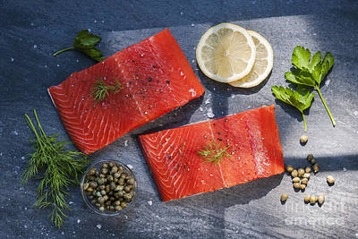 Salmon Photograph - Wild Salmon Steaks by Elena Elisseeva