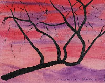 Wild Sky And Tree Print by Suzanne  Marie Leclair