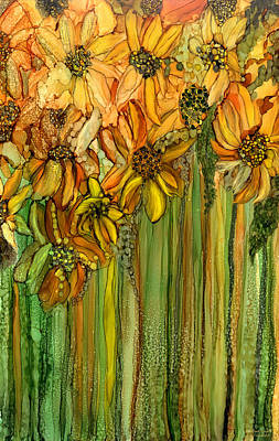 Sunflowers Mixed Media - Wild Sunflower Garden by Carol Cavalaris