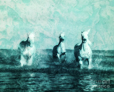 Horses In The Ocean Painting - Wild Waters by Kathy Franklin