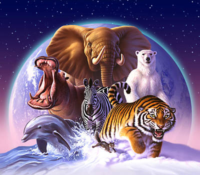 Tigers Print featuring the painting Wild World by Jerry LoFaro