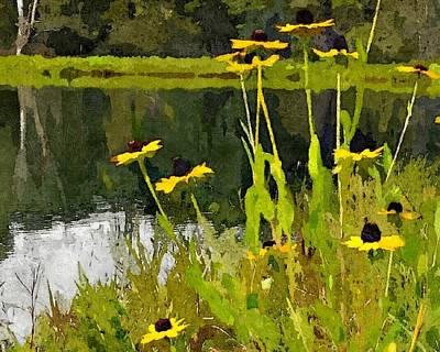Abstracted Coneflowers Digital Art - Wild Yellow Coneflowers 17 by Don Berg