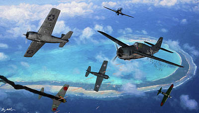 Digital Art - Wildcat Encounter Over The Pacific - Oil by Tommy Anderson
