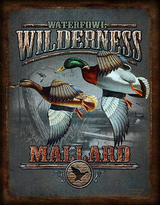 Marshes Painting - Wilderness Mallard by JQ Licensing