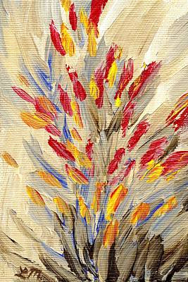 Red Flowers Painting - Wilderness Sense Four by Linda Mears
