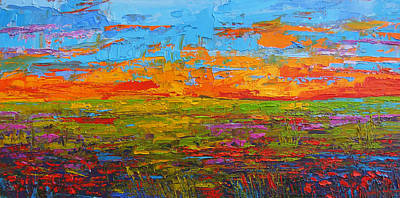 Wildflower Field At Sunset - Modern Impressionist Oil Palette Knife Painting Print by Patricia Awapara