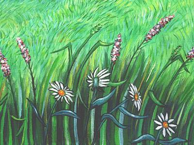 Daisies Painting - Wildflower Garden Part A by Linda Mears