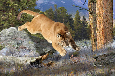 Wildlife Art - Mountain Lion Print by Dale Kunkel Art