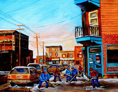 Montreal Winter Scenes Painting - Wilensky's A Friendly Game Of Hockey by Carole Spandau