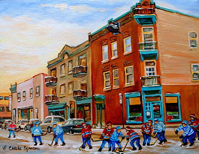 Montreal Street Life Painting - Wilenskys Diner Hockey Game In Progress by Carole Spandau