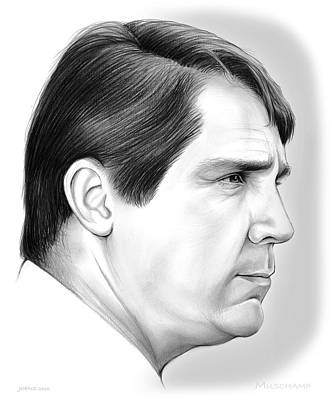 Harvard Drawing - Will Muschamp 2 by Greg Joens