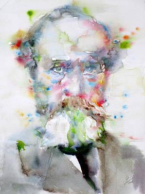 William James - Watercolor Portrait Original by Fabrizio Cassetta