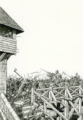 Invade Painting - William Of Normandy's Troops Advancing Up The Thames by Pat Nicolle