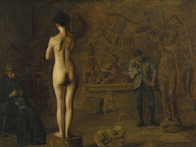 Carving Painting - William Rush Carving His Allegorical Figure Of The Schuylkill River by Thomas Eakins