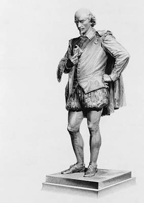 Statue Portrait Drawing - William Shakespeare 1564 To 1616 by Vintage Design Pics
