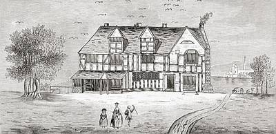 Stratford Drawing - William Shakespeare S House by Vintage Design Pics
