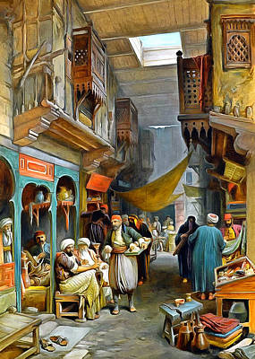 Simpsons Painting - William Simpson Souk 1884 by Munir Alawi
