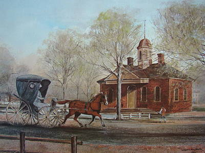 Buggy Painting - Williamsburg Courthouse by Charles Roy Smith