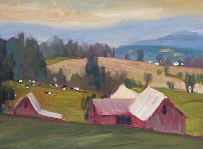 Distant Mountains Painting - Williamstown Farm by Len Stomski