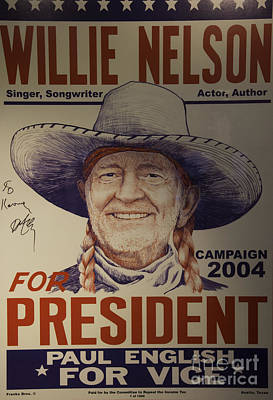 Willie For President Print by Bob Hislop
