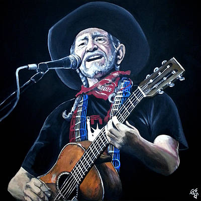 Willie Painting - Willie Nelson 2 by Tom Carlton