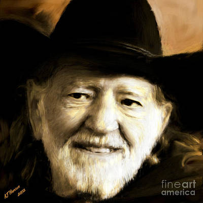 Willie Nelson Print by Arne Hansen