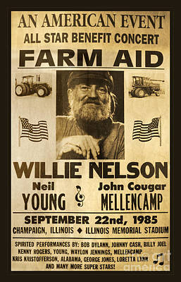 Bob Dylan Photograph - Willie Nelson Neil Young 1985 Farm Aid Poster by John Stephens
