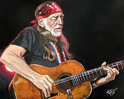 Willie Painting - Willie Nelson by Tom Carlton