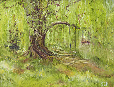 Swing Painting - Willow Swing by Susan E Hanna