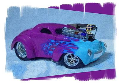 Drag Mixed Media - Willys Blue Flames by Gra Howard