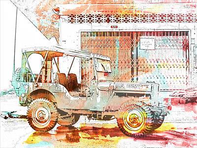 U.s Army Mixed Media - Willys Jeep by Georgia Fowler