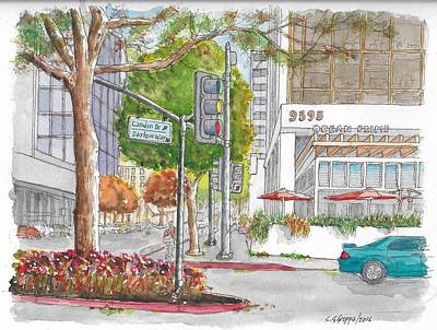 Wilshire Blvd. And Camden Dr. In Beverly Hills, California Original by Carlos G Groppa