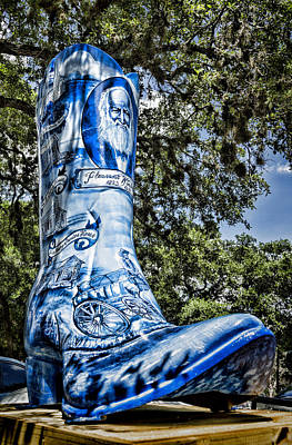 Wimberley Blue Boot Print by Stephen Stookey