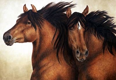 Horse Watercolor Painting - Wind Brothers by Pat Erickson