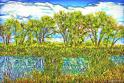 Trippy Digital Art - Wind Caresses Pond - Lake Reflections In Boulder County Colorado by Joel Bruce Wallach