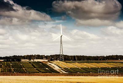 Wind Powered Turbine On Australian Farm Landscape Print by Jorgo Photography - Wall Art Gallery