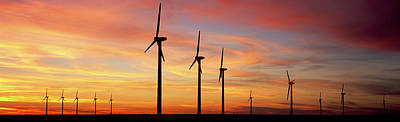 In A Row Photograph - Wind Turbine In The Barren Landscape by Panoramic Images