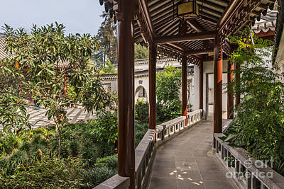 Winding Pavilion At The Chinese Gardens In The Huntington. Print by Jamie Pham