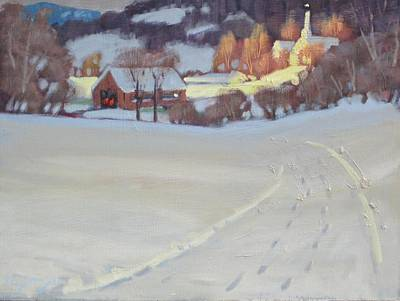 New England Snow Scene Painting - Winding Road by Len Stomski