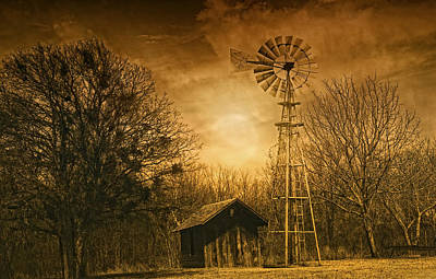 Old Barns Digital Art - Windmill At Sunset by Iris Greenwell