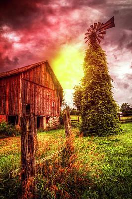 Mennonite Photograph - Windmill At The Barn by Debra and Dave Vanderlaan