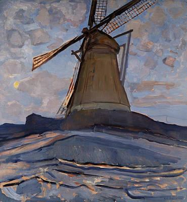 De Stijl Painting - Windmill by Piet Mondrian