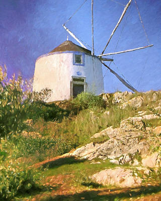 Impressionistic Landscape Painting - Windmill Portugal by Lutz Baar